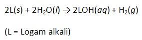 reaksi logam alkali dengan air